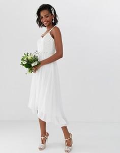 Свадебное платье миди с плиссировкой и отделкой на талии Ted Baker - Белый