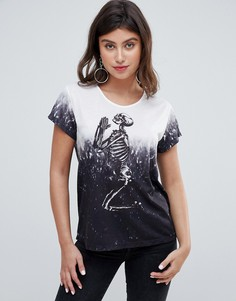 Oversize-футболка с принтом молящегося скелета и эффектом деграде Religion - Серый