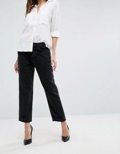 Прямые укороченные джинсы с завышенной талией, необработанными краями и рваной отделкой J Brand - Черный