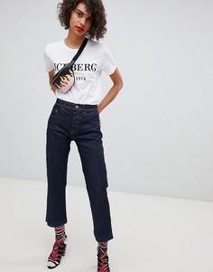 Прямые укороченные джинсы с цветочной аппликацией Iceberg - Синий