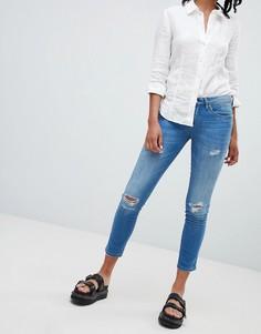 Зауженные джинсы с прорехами Blank NYC - Синий
