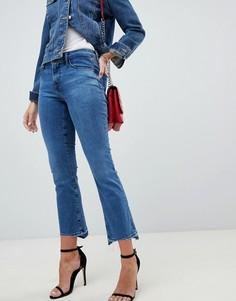 Синие выбеленные укороченные джинсы с классической талией и ступенчатым краем J Brand Selena - Синий