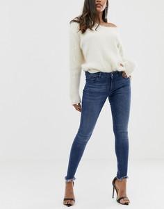 Укороченные джинсы скинни с необработанными краями DL1961 Margaux - Синий