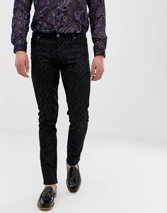 Черные выбеленные джинсы скинни со звериным принтом ASOS DESIGN - Черный