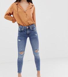 Выбеленные зауженные джинсы с состаренной отделкой River Island Petite Amelie - Синий
