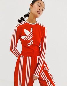 Красное боди с высоким воротом и тремя полосами adidas Originals x Ji Won Choi - Красный