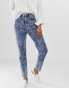 Узкие мраморные джинсы в винтажном стиле с завышенной талией ASOS DESIGN Recycled Farleigh - Синий