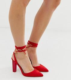 Туфли для широкой стопы на высоком каблуке с заостренным носком и завязкой ASOS DESIGN Pucker Up - Красный