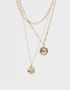 Золотистое ожерелье в несколько рядов с цепочками из разных звеньев и подвесками-монетами с состаренным эффектом ASOS DESIGN - Золотой