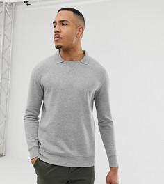 Серый меланжевый свитшот с воротником поло ASOS DESIGN Tall - Серый