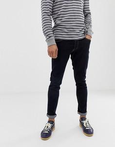 Темные выбеленные джинсы слим с контрастной строчкой Jack & Jones - Синий