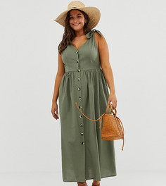 Свободное платье макси на пуговицах ASOS DESIGN Curve - Зеленый