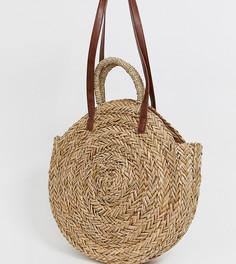 Большая круглая соломенная сумка South Beach - Бежевый
