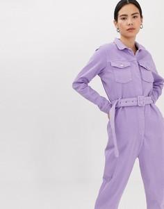Сиреневый джинсовый комбинезон из органического материала с поясом Tomorrow - Фиолетовый