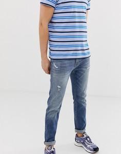 Выбеленные зауженные джинсы с состаренной отделкой Hollister - Синий