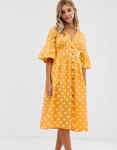 Платье миди на пуговицах в горошек Influence - Желтый