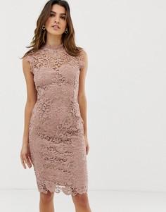 Серо-коричневое кружевное платье миди с высоким воротом Paper Dolls - Коричневый