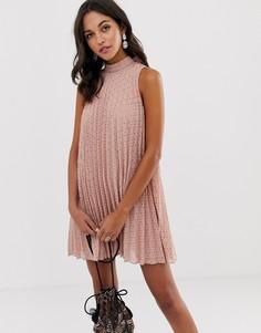 Свободное плиссированное платье мини ASOS DESIGN - Розовый