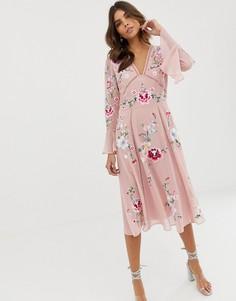 Платье миди с вышивкой и кружевом ASOS DESIGN - Розовый