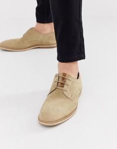 Бежевые замшевые туфли со шнуровкой Base London - Бежевый