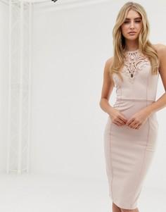 Розовое облегающее платье с кружевной отделкой и американской проймой Lipsy - Розовый
