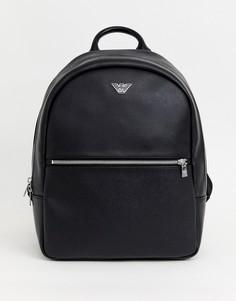 Черный рюкзак с металлическим логотипом Emporio Armani - Черный