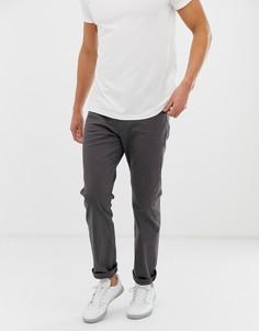 Темно-серые саржевые брюки прямого кроя Esprit - Серый