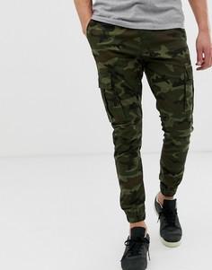 Узкие брюки карго с камуфляжным принтом и кромкой манжетом Solid - Зеленый