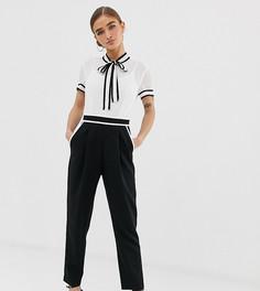 Монохромный комбинезон два в одном с шифоновой блузкой и строгими брюками Paper Dolls petite - Мульти