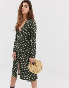 Чайное платье миди с длинными рукавами и винтажным цветочным принтом Wild Honey - Зеленый