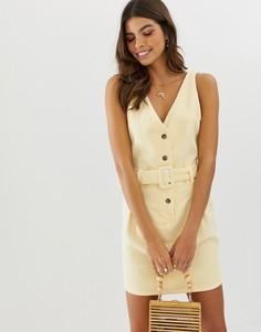 Вельветовое платье мини на пуговицах с поясом ASOS DESIGN - Кремовый