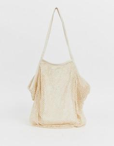 Пляжная сетчатая сумка-шоппер ASOS DESIGN - Кремовый