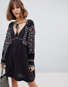 Свободное платье с вышивкой Free People - Черный