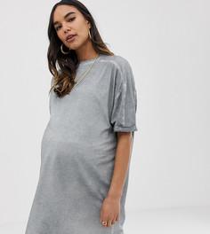 Платье-футболка с отворотами на рукавах ASOS DESIGN Maternity - Серый