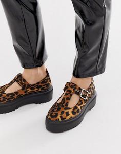 Туфли на массивной плоской подошве с леопардовой отделкой ASOS DESIGN Motivator - Мульти