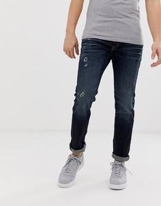 Темные джинсы слим с рваной отделкой Jack & Jones Intelligence TIM - Темно-синий