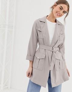 Светло-бежевая куртка-рубашка с поясом New Look - Светло-бежевый
