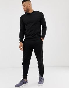 Черный спортивный костюм со свитшотом и суженными книзу джоггерами ASOS DESIGN - Черный