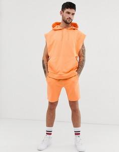 Оранжевый спортивный костюм с oversize-худи без рукавов и облегающими шортами ASOS DESIGN - Оранжевый