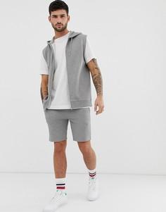 Серый меланжевый спортивный костюм из худи без рукавов и с молнией и облегающих шорт ASOS DESIGN - Серый