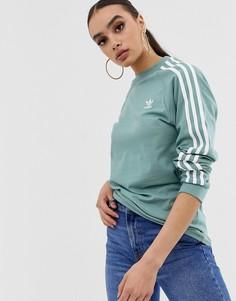 Лонгслив с тремя полосками adidas Originals adicolor - Зеленый