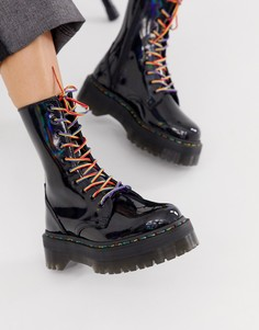 Высокие кожаные ботинки черного цвета на толстой подошве с разноцветными шнурками Dr Martens Jadon X - Черный