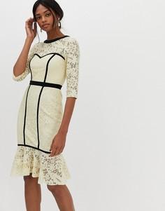 Кружевное платье миди Paper Dolls - Кремовый