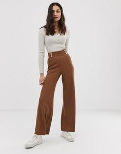 Фактурные брюки в рубчик с широкими штанинами и пуговицами из натуральных материалов ASOS DESIGN - Коричневый