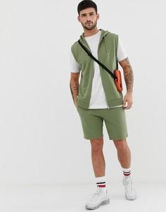 Спортивный костюм с худи на молнии без рукавов и облегающими шортами зеленого цвета ASOS DESIGN - Зеленый