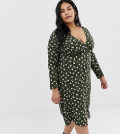 Чайное платье миди с длинными рукавами и цветочным принтом Wild Honey Plus - Зеленый