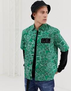Зеленая рубашка с короткими рукавами и принтом в стиле банданы Diesel S-Fri-MP - Зеленый