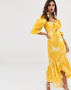 Платье миди с узелком и принтом ASOS EDITION - Мульти