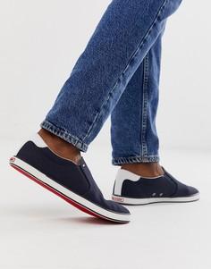 ea99586e3009 Темно-синие кроссовки-слипоны на контрастной подошве с логотипом-флагом  Tommy Hilfiger - ...