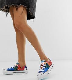 Кроссовки на платформе с цветочным принтом Converse Chuck Taylor Ox - Синий